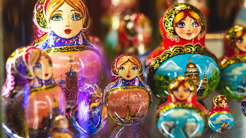 Traditionelle russiske dukker i Sankt Petersborg, Rusland